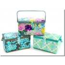 "Medium Rectangle Sewing Basket - 11-1/2"" x 6-5/8"" x 6-1/2"", Assorted Fabrics & Colours"