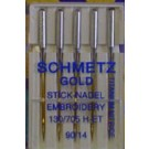 Schmetz Embroidery GOLD Needles, 5 Count, Size 90/14 (Bulk Package, Not on card)
