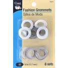 "Fashion Grommets, Size 1/2"" (12.7mm), White, 8 sets"