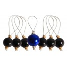 Knitter's Pride ZOONI Stitch Markers With Coloured Beads (Set Of 7 Including 1 Marker) - Midnight Beauty