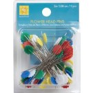 "Flower Head Multicolor Pins, (not magnetic) 2"" (5.08cm), 75 count"