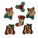 Holiday Pets-3D Buttons