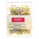 "Bohin Plastic Head Pins, Yellow, 65mm (1 3/4"") x 500pc."