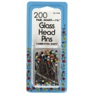 Glass Head Pins, 200 count, 35mm, Assorted Colour