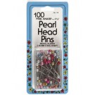 Pearl Head Pins, Fine,100 count, assorted colours