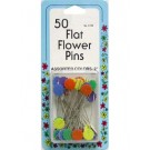 """Flat Flower Pins, 2"""" Assorted Colours, 50 Count"""