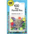 "Flat Flower Pins, 2"" Assorted Colour, 100 Count"
