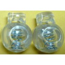 Cord Locks - Ball Style, Clear Plastic, 2Ct