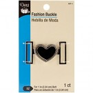 "Fashion Buckle,  for 1"" (2.54cm) Belt, Heart, Black/Nickel, 1 count"