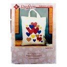 Duftin Punch By Number/Punch Needle Embroidery Multi-Colour Hearts Tote/Market Bag, 38cm x 42cm, Ivory