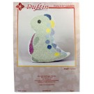 Duftin Punch By Number/Punch Needle Embroidery Dinosaur Figure, 19cm x 19.5cm, Ivory & Lilac