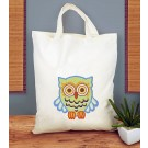 Duftin Punch By Number/Punch Needle Embroidery Owl Tote/Market Bag, 38cm x 42cm, Ivory