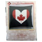 Duftin Punch By Number/Punch Needle Embroidery Canadian Flag Heart Pillow, Dark Grey, 40cm x 40cm
