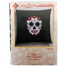 Duftin Punch By Number/Punch Needle Embroidery Sugar Skull Pillow, Grey, 40cm x 40cm