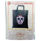 Duftin Punch By Number/Punch Needle Embroidery Sugar Skull Tote/Market Bag, Grey, 38cm x 42cm