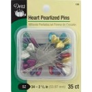 "Heart Pearlized Pins - Size 34 - 2 1/8"" - 35 count"