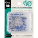 "Ultra-Fine Glass Head Pins,  Size 22,  1 3/8"" (35mm) x .4mm, 150 count,"