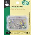 "Glass Head  Pins,  Size 20 - 1 1/4"" (1.75mm), 100 count"