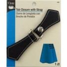 Tab Closure with Snap - Black faux leather tab with silver snap -1 Count