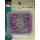 Long Pearlized Pins, 100 count, Fuschia