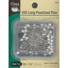 Long Pearlized Pins, White, 100 Count