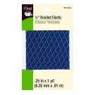 "Dritz 1/4"" (6mm) Braided Elastic in Blue with a White & Grey Zig-Zag Pattern"