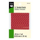 "Dritz 1/4"" (6mm) Braided Elastic in Red with a White & Grey Zig-Zag Pattern"