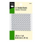 "Dritz 1/4"" (6mm) Braided Elastic in White with a Black & Grey Zig-Zag Pattern"