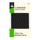 "Dritz 1/4"" (6mm) Braided Elastic in Black with a White & Grey Zig-Zag Pattern"