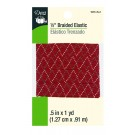 "Dritz 1/2"" (13mm) Braided Elastic in Red with a White & Grey Zig-Zag Pattern"