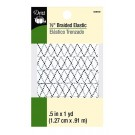 "Dritz 1/2"" (13mm) Braided Elastic in White with a Black & Grey Zig-Zag Pattern"