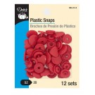 Dritz Plastic Heart Snaps, Size 20, Red, 12 Sets