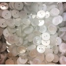 2 Hole Pearl White Buttons - 15mm, Plain (Bulk)