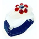 Custom Bedazzled Thread Cutterz Ring in Glow In The Dark/Red Crystal Flower - 30% OFF!