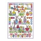 Duftin Lindner's Creativ-Set Cross Stitch/Embroidery Kit - 'Happy Easter', 80x80cm, White