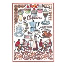 Duftin Lindner's Creativ-Set Cross Stitch/Embroidery Kit - 'Coffee Time', 80x80cm, White
