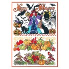 Duftin Lindner's Creativ-Set Cross Stitch/Embroidery Kit - 'Happy Halloween', 80x80cm, White