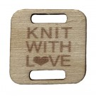 Square Birch Wood Knitting/Crochet Tag - Knit With Love, 25pc.