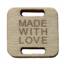 Square Birch Wood Knitting/Crochet Tag - Made With Love, 25pc.
