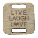 Square Birch Wood Knitting/Crochet Tag - Live Laugh Love, 25pc.