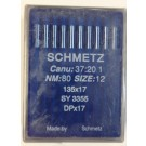 Schmetz Standard Sharp Point  Walking Foot (Compound Feed) Industrial Sewing Machine Needles (Size 12), Round Shank, Box Of 100 Needles