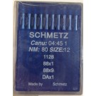 Schmetz Light Duty Industrial Sewing Machine Needles (Size 12),  Round Shank, Box Of 100 Needles