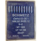 Schmetz Sharp Point Industrial Serging Machine Needles (Size 12), Round Shank, Box Of 100 Needles