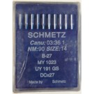 Schmetz Sharp Point Industrial Serging Machine Needles (Size 14), Round Shank, Box Of 100 Needles