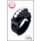 "Custom ""Bedazzled Thread Cutterz Ring in Black/Single Row Clear Crystals - 30% OFF!"