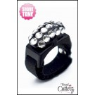 "Custom ""Bedazzled Thread Cutterz Ring in Black/3-Row Clear Crystals - 30% OFF!"