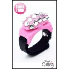 "Custom ""Bedazzled Thread Cutterz Ring in Pink/3-Row Clear Crystals 30% OFF!"