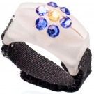 Custom Bedazzled Thread Cutterz Ring in Glow In The Dark/Blue Crystal Flower - 30% OFF!