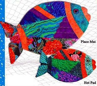 WW1401 - Fish Tails Placemat & Hot Pad Pattern by Wonder Woman Quilts