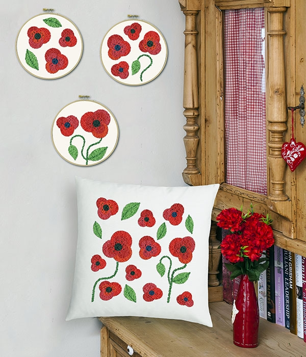 Duftin Poppies Punch Pillow Punch Needle Kit